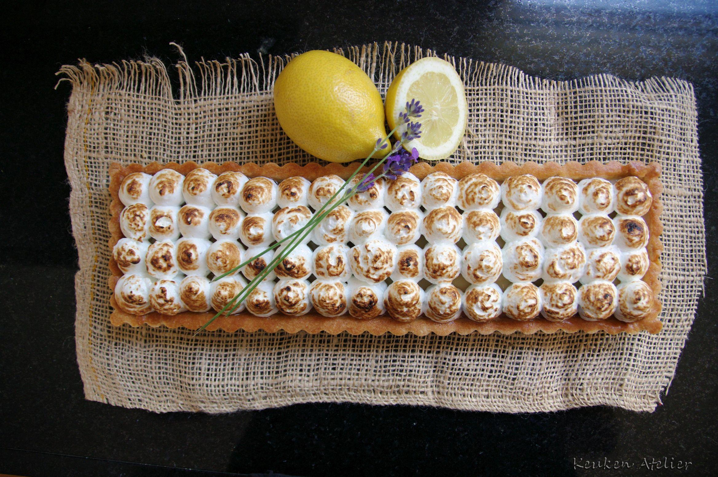 citroen meringue taart met lavendel