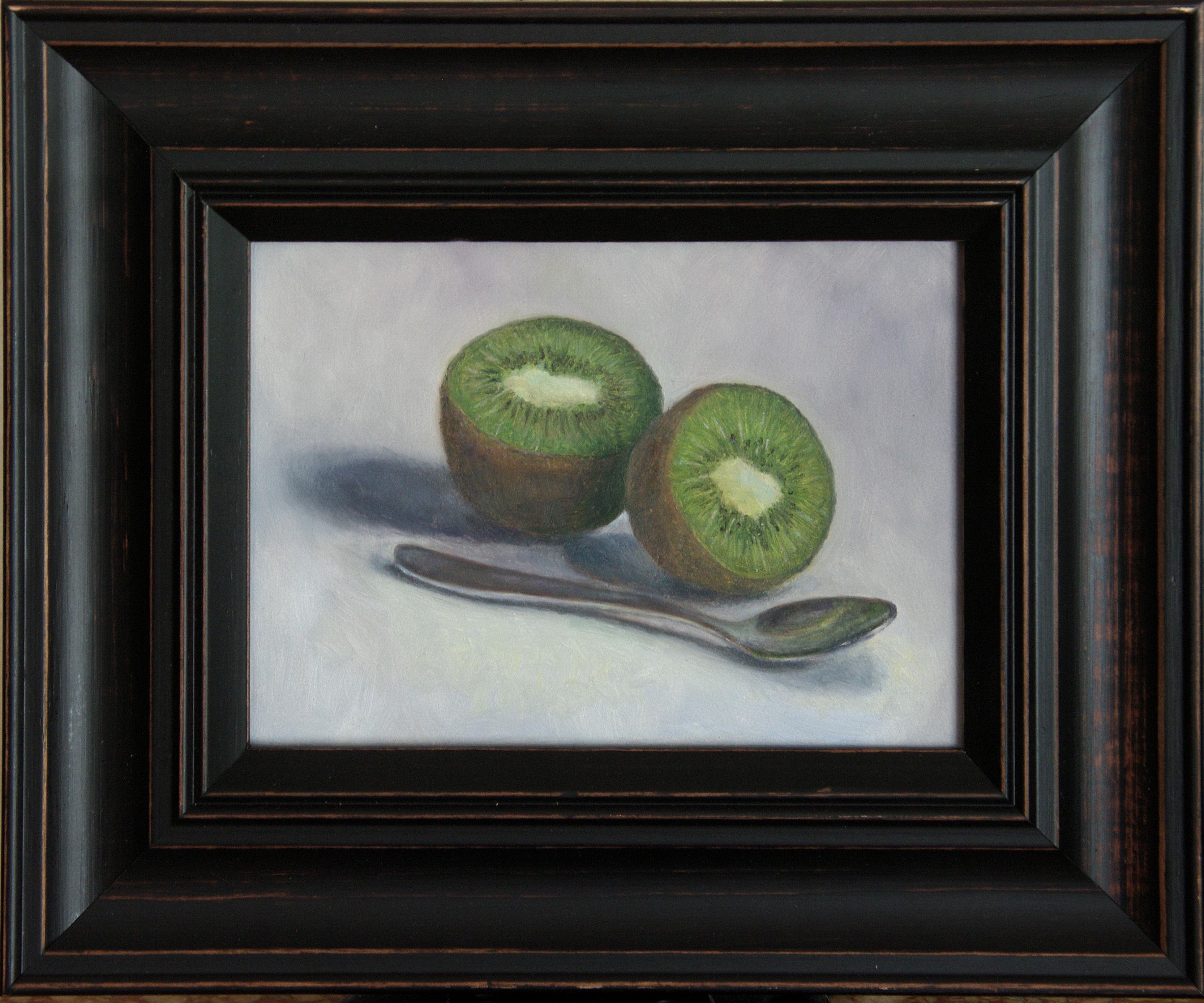 stilleven kiwi met lepel