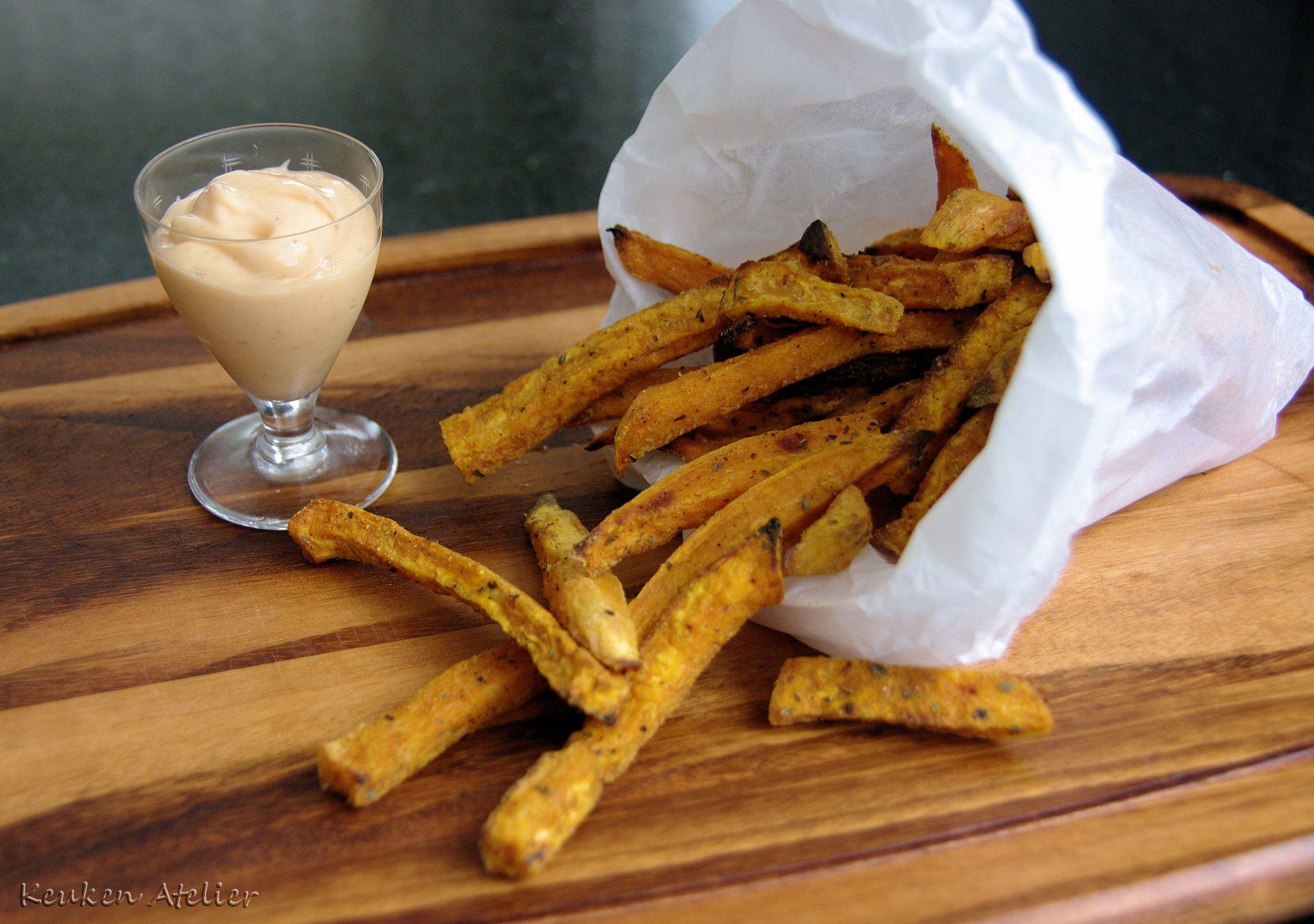 zoete aardappel frites