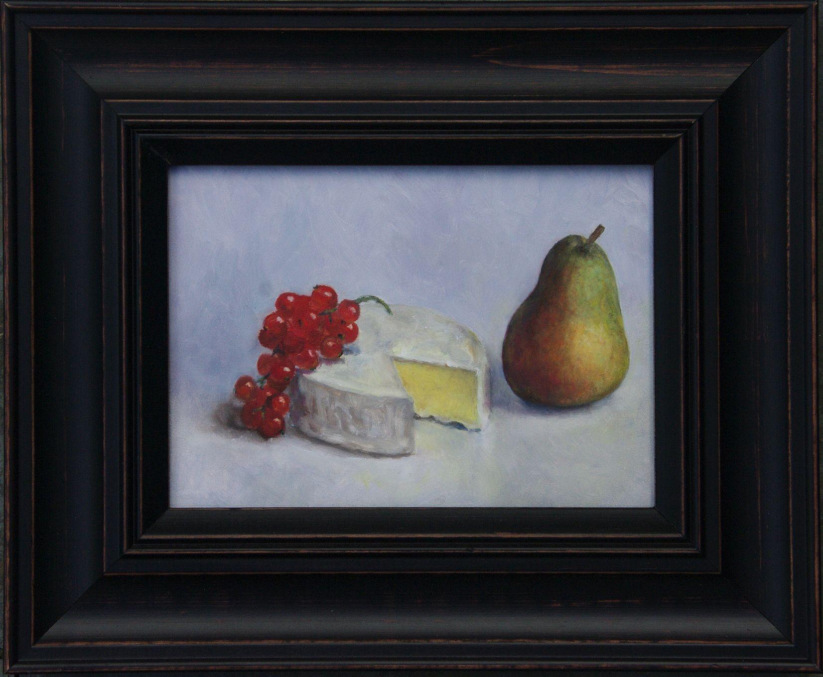 schilderij aalbessen, camembert en peer