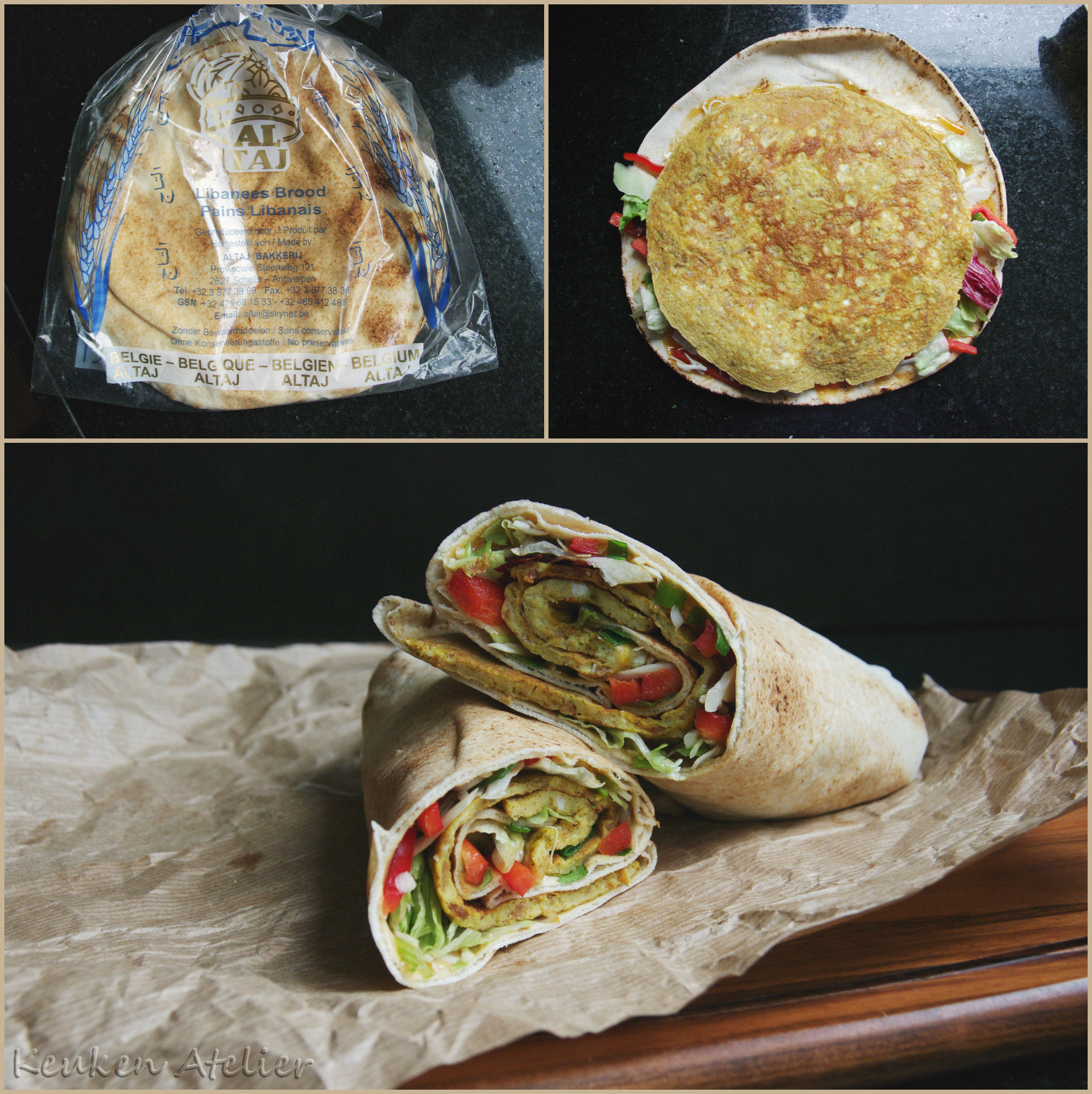 Indiase omelet wrap collage