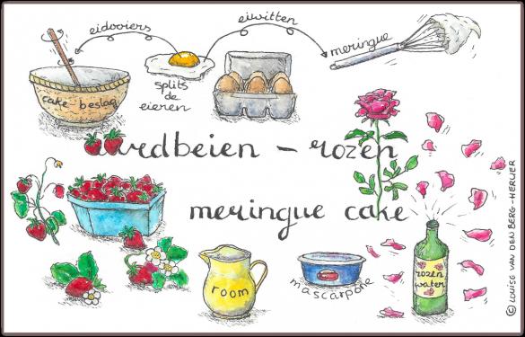 aardbeien rozen meringue cake illustratie