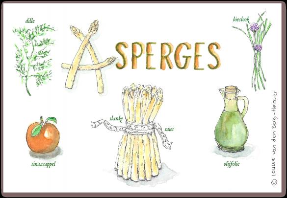 illustratie asperge met sinaasappelsaus