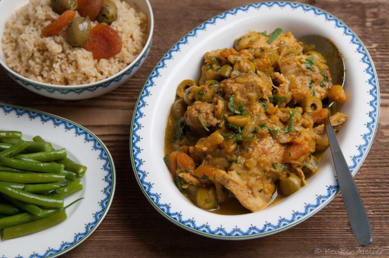 Marokkaanse kip met abrikozen en groene olijven | KeukenAtelier