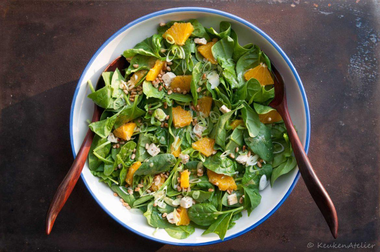 spinaziesalade met sinaasappel en feta | KeukenAtelier