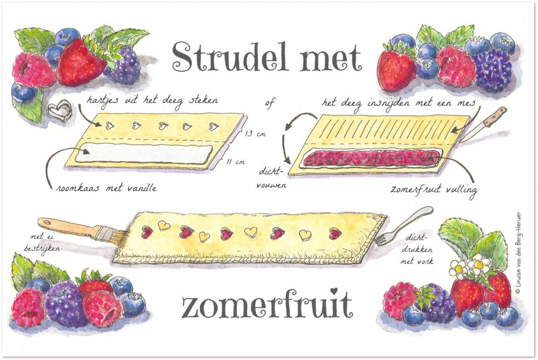 illustratie zomerfruit strudel