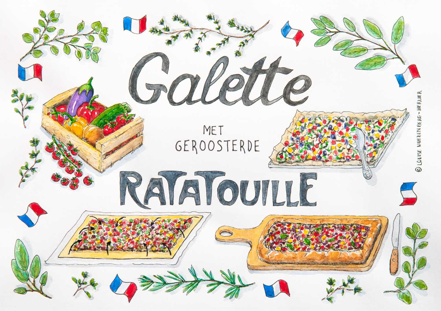 galette met ratatouille illustratie