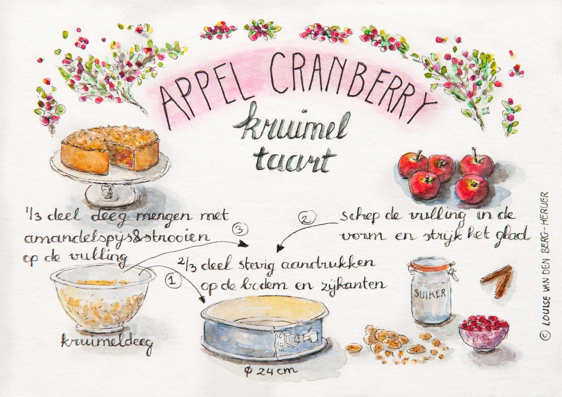 illustratie appel cranberry kruimeltaart