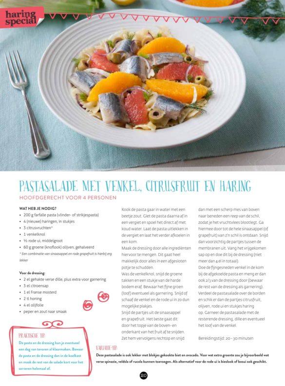 VisCulinair Magazine Pastasalade met venkel, citrusfruit en haring