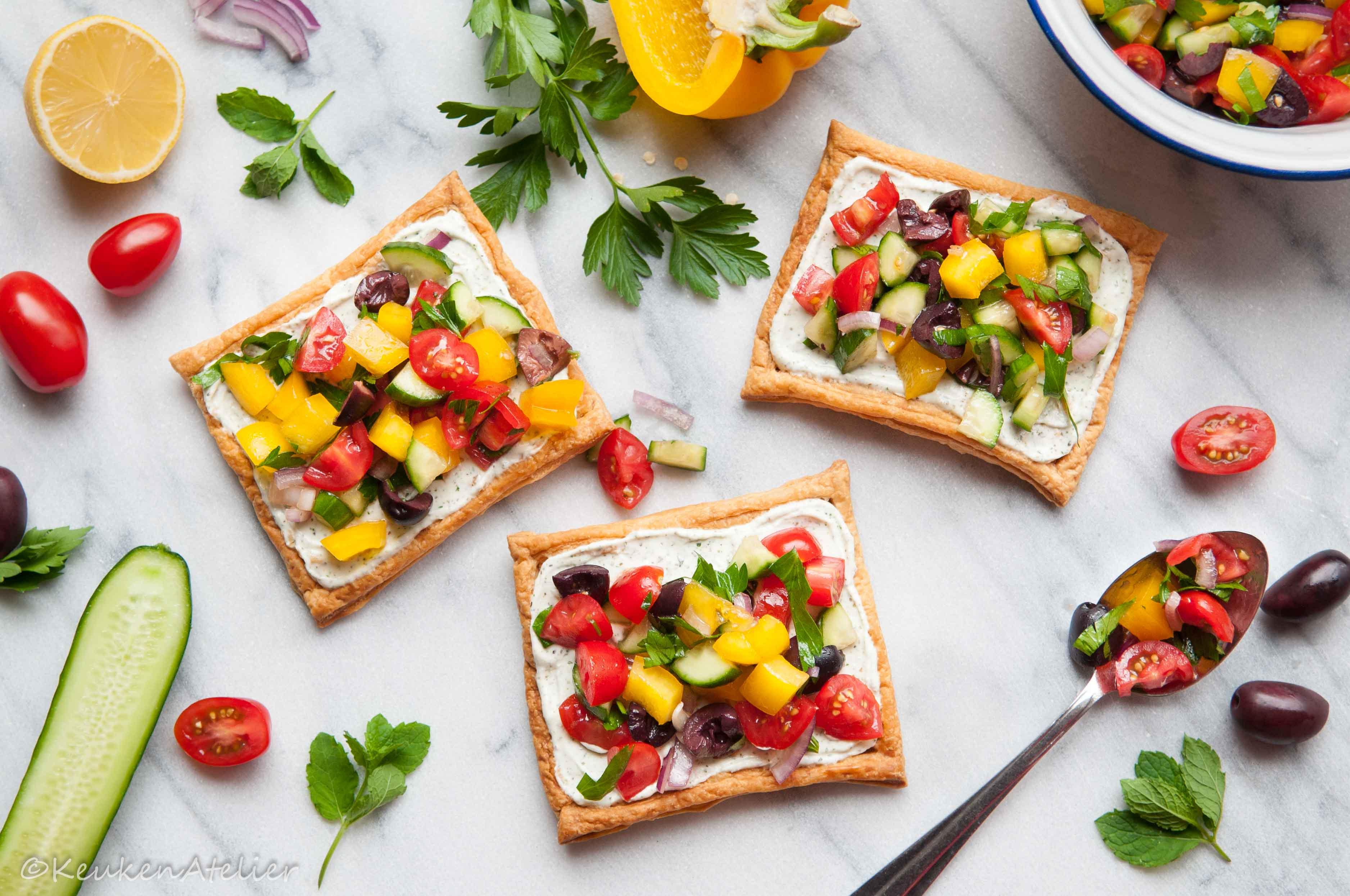 Griekse salade taartjes met feta crème 1 KeukenAtelier.com