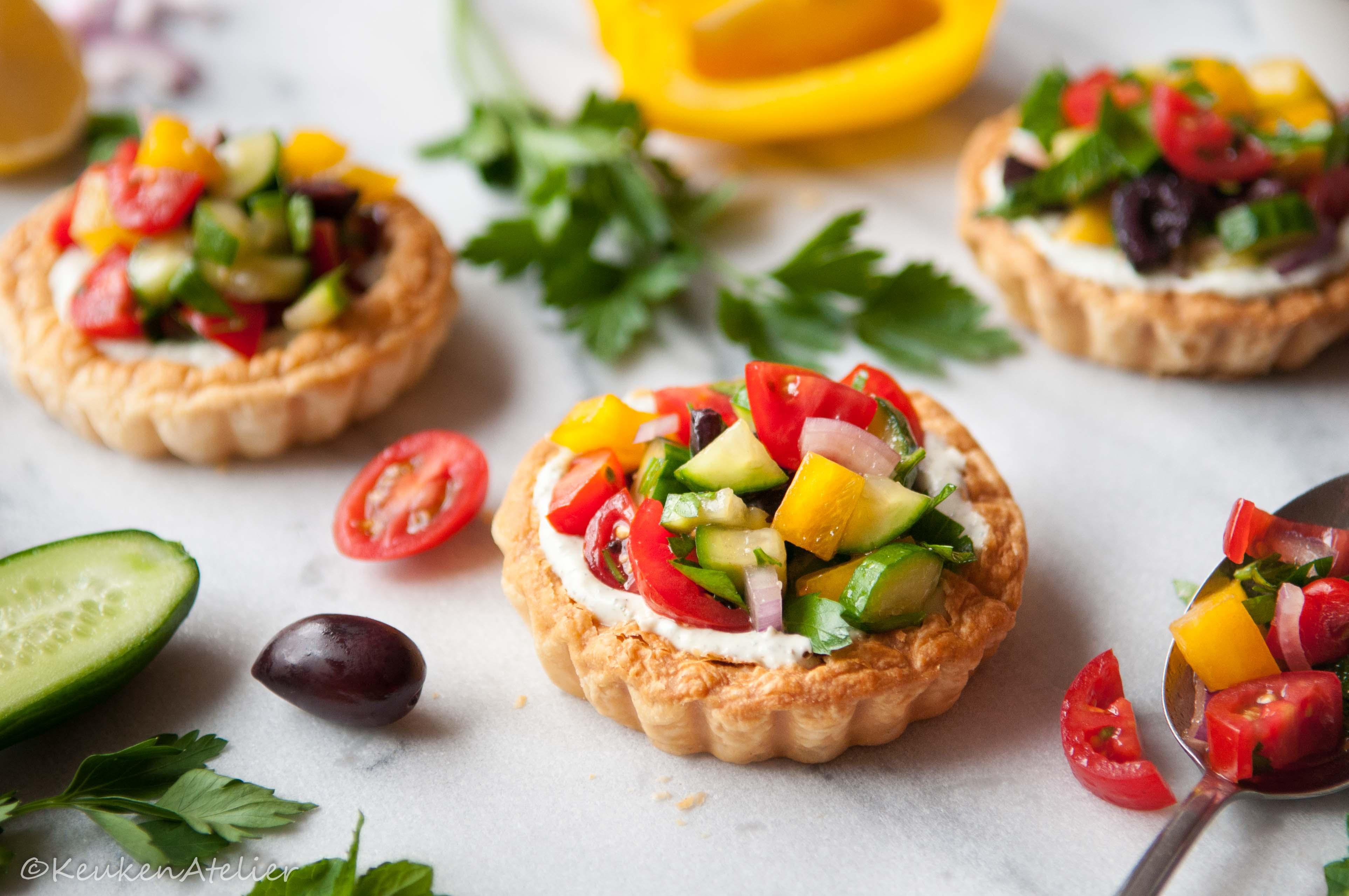 Griekse salade taartjes met feta crème 3 KeukenAtelier.com