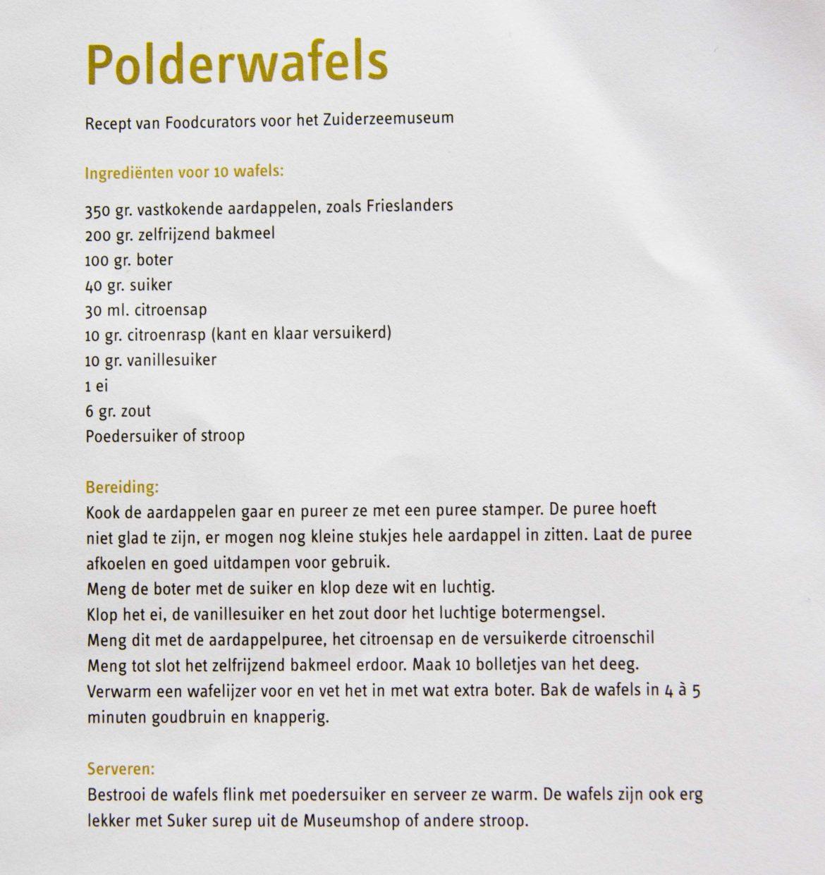 Recept Polderwafels Zuiderzeemuseum