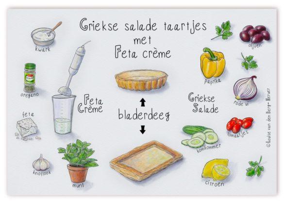illustratie Grieks salade taartje DS2 KeukenAtelier.com