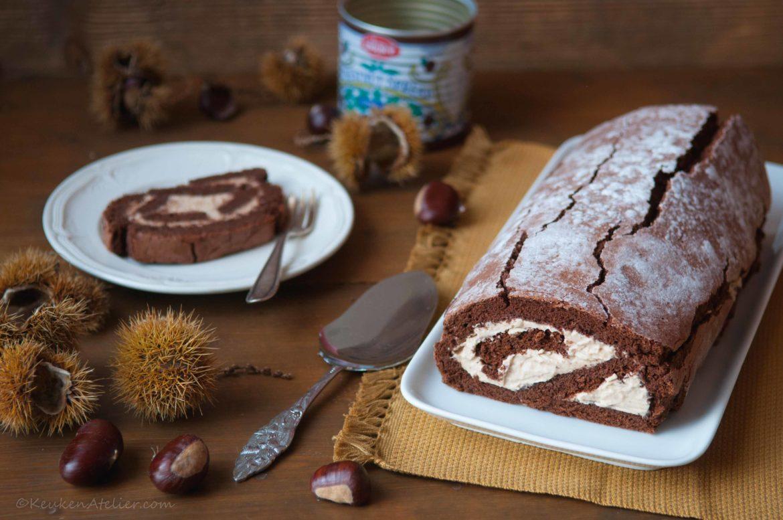 Chocolade cake rol met kastanje creme Keukenatelier.com