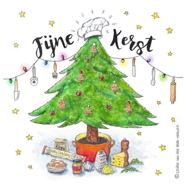 Kaart Kerstboom Kaaskoekjes voorkant