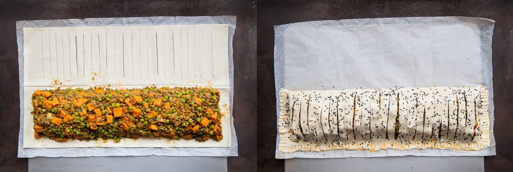 Vegetarische curry strudel met zoete aardappel en linzen how to | KeukenAtelier.com