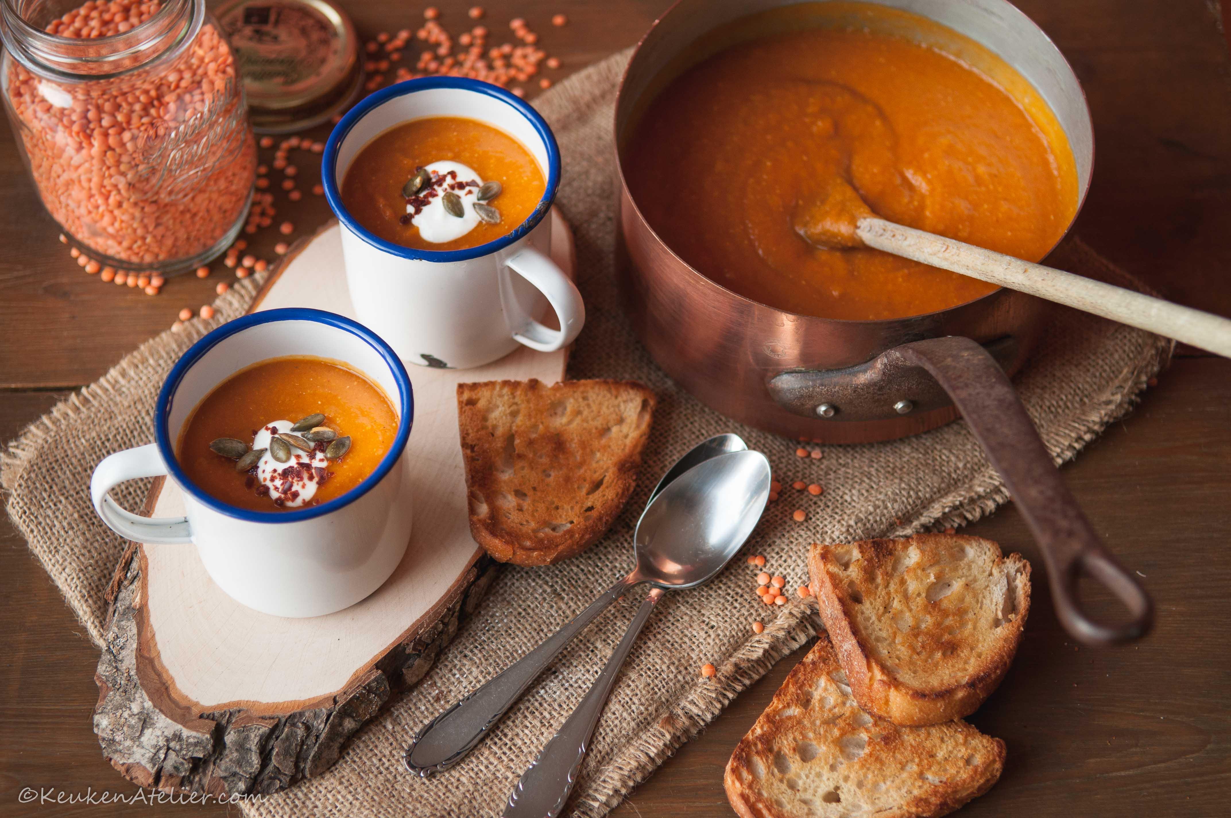 Rode linzensoep met zoete aardappel (1) | KeukenAtelier.com