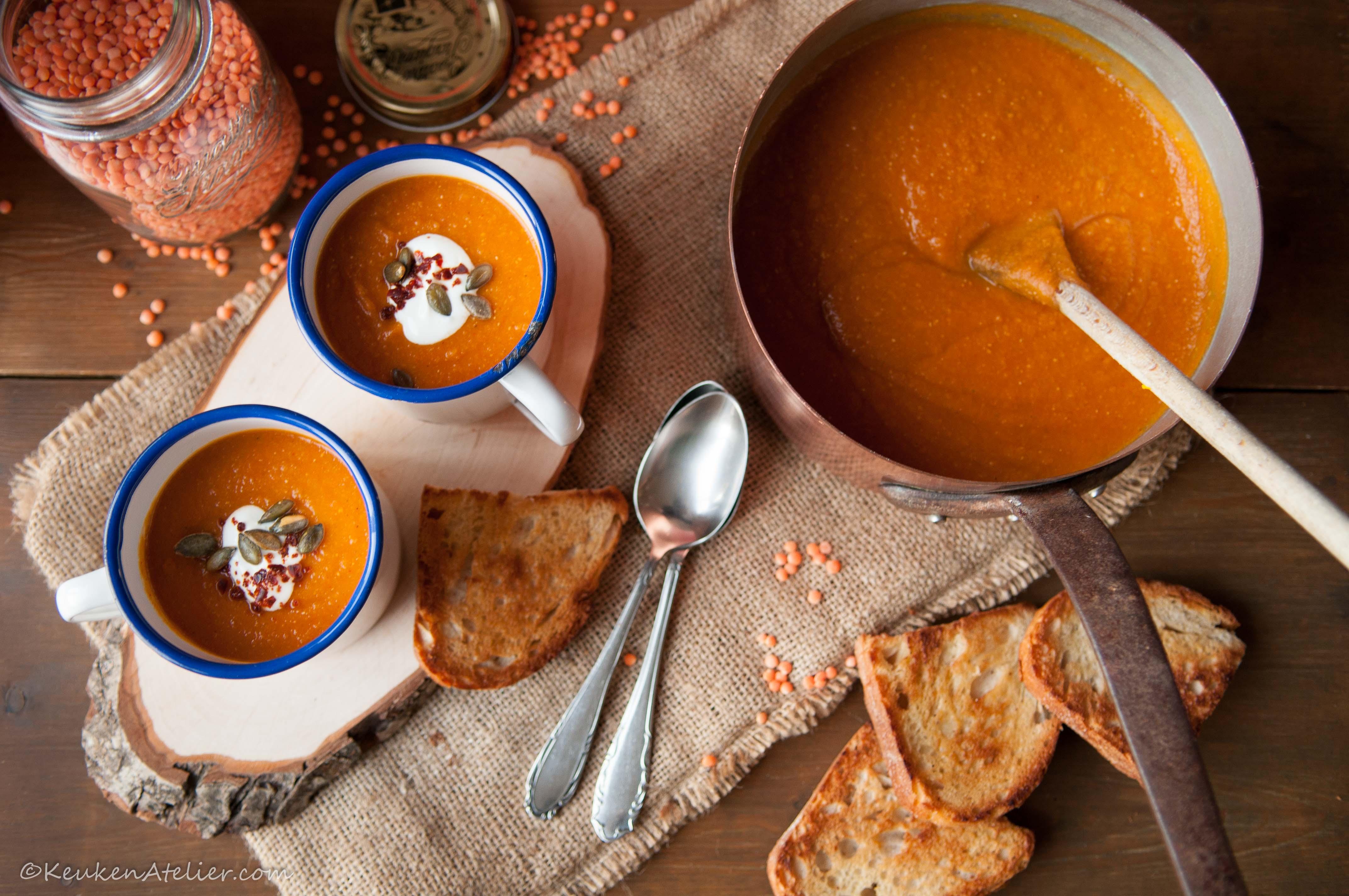 Rode linzensoep met zoete aardappel (2) | KeukenAtelier.com