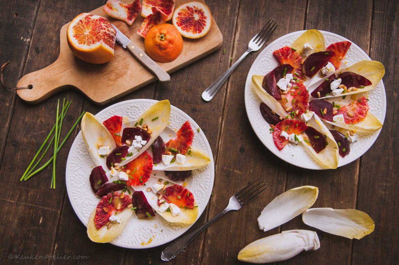 salade met bloedsinaasappel, bietjes en witlof | KeukenAtelier.com