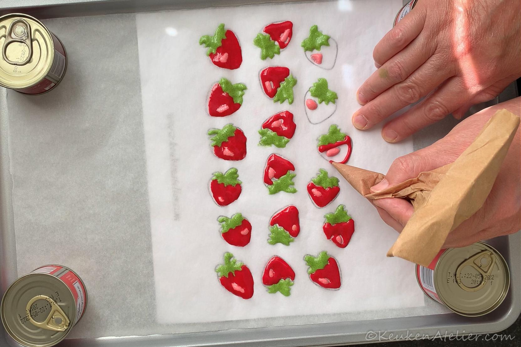 Aardbeien patroon voor cakerol