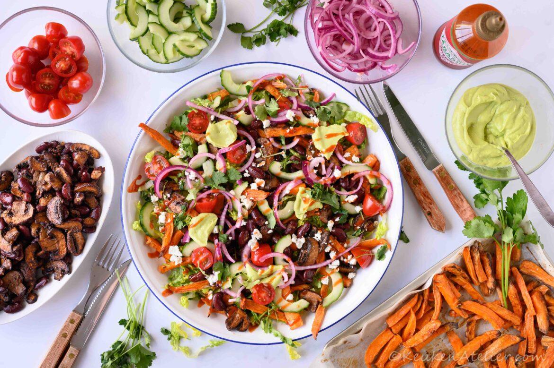 Vegetarische kapsalon met zoete aardappel 2 Keukenatelier.com