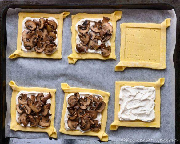 Plaattaartjes met champignons how to