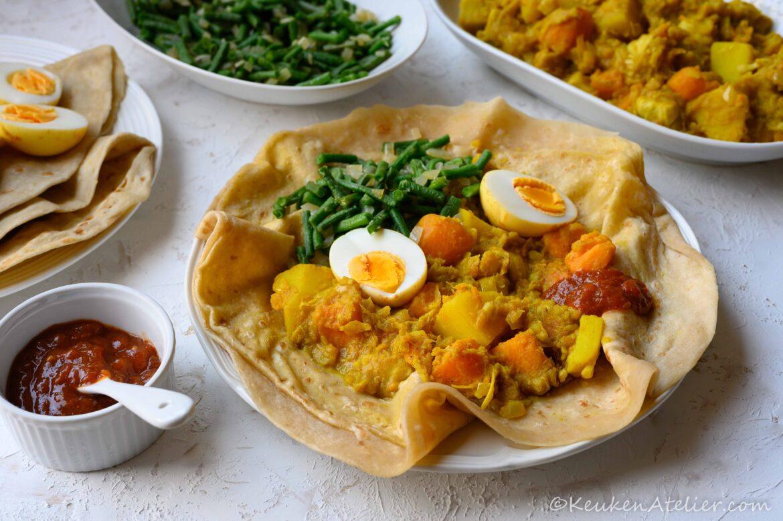 Roti met vegetarische jackfruit masala